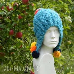 boho cudak czapka - kolorowa, pompony, boho, fikuśna, etniczna, oryginalna