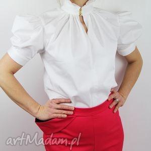 biala damska bluzka z bufkami, koszula, bluzka, damska, bufki, biura, elegancka