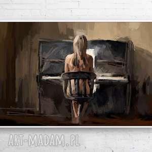 obrazy obraz na płótnie cisza 120x80 cm, obraz, design, nowoczesny, pianino, kobieta