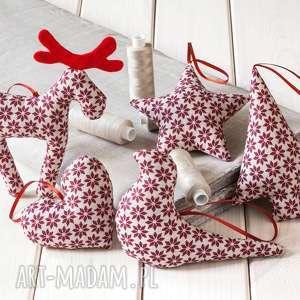 pomysł na upominek święta OZDOBY CHOINKOWE beżowe w bordowe gwiazdki, boże-narodzenie