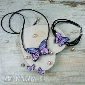 Komplet biżuterii motyle - fioletowe, motyl, motyle, komplet, biżuteria, fimo