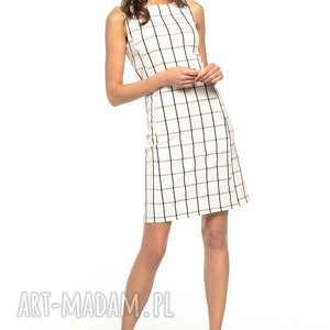 elegancka sukienka taliowana w kratę, t282, sukienka, taliowana, krata