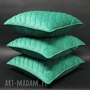 poduszki komplet poduszek, velvet karo, zieleń trawiasta 45x45cm