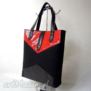 torba na zakupy - filcowa ze skórą czarna z czerwonym, filc, skóra