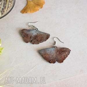 kolczyki w formie liści miłorzębu, miłorzęby, liście miłorzębu
