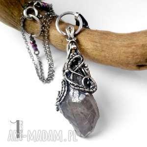 frozen iv - srebrny naszyjnik z kwarcem tytanowym - kwarc, tytanowy, srebro, wirewrapping
