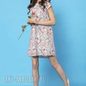 sukienki sukienka z kontrafałdą na plecach, model 32a, kwiaty