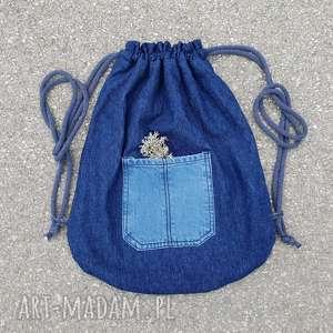 ręcznie zrobione plecak worek jeans upcykling