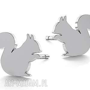 srebrne małe kolczyki wiewiórka wiewiórki