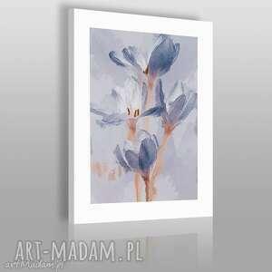 obrazy obraz na płótnie - błękitne kwiaty bukiet 50x70 cm 03901 , kwiaty