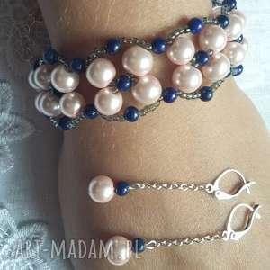 Komplet biżuterii beading kolczyki i bransoletka w pastelowym