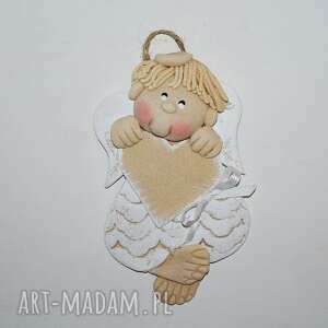 dla pawełka - aniołek z dedykacją, anioł, masa solna, prezent, dedykacja, serce