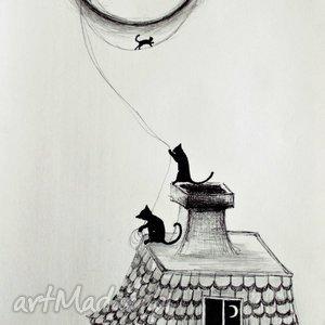 rysunek piórkiem księżycowa zabawa artystki plastyka adriany laube, rysunek, koty