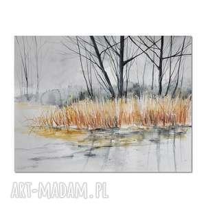 pejzaż zimowy /11/, akwarela, obraz, ręcznie, malowany, pejzaż