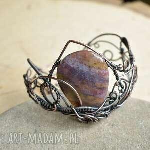 aethelflaed - bransoletka z jaspisem, miedziana, wire