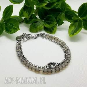 bransoleta chainmaille z szarym agatem, bransoleta, chainmaille, agat, kamienie