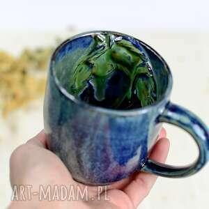 ręcznie wykonane ceramika handmade ceramiczny kubek z koniem - niebiesko zielony 420