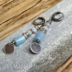Prezent Kolczyki srebrne z akwamarynami, kolczyki-akwamaryn, akwamaryn-srebro