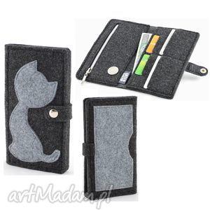 Portfel z Kotem - MIDI- Grafit i Szary FILC, portfel, portmonetka, filc, kot, kotek