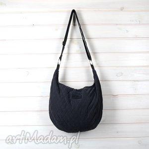 Prezent Pikowana Hobo torba na ramię listonoszka grafitowa, torebka, pikowana