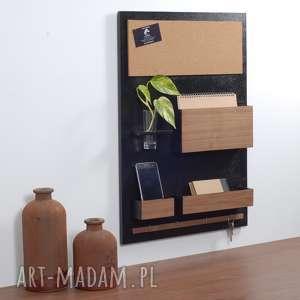 Prezent Organizer ścienny- 45x63 cm, drewniany, czarny , organizer-na-ścianę