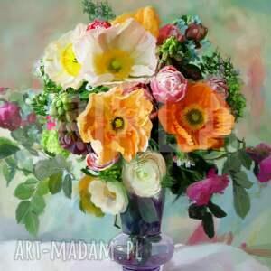 obrazy kwiaty bukiet w wazonie
