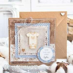 Przeurocza kartka dla dziecka w kopercie narodziny chrzest