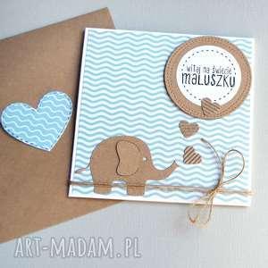 handmade kartki kartka z okazji narodzin dzidziusia - mięta