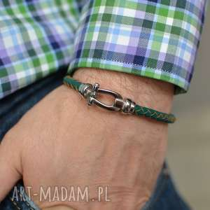 bransoletka skórzana męska uno plait buckle steel zielona