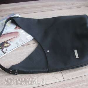 skórzana torba hobo, na co dzień, xl, czarna skóra