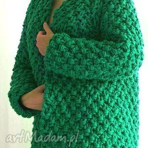 Gruby zielony swetry mondu sweter, gruby, dziergany, chunky