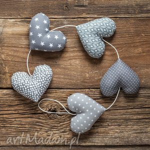 Prezent SERCOWA SZARA GIRLANDA, 5 serc, dekoracja, girlanda, prezent, serce, ślub