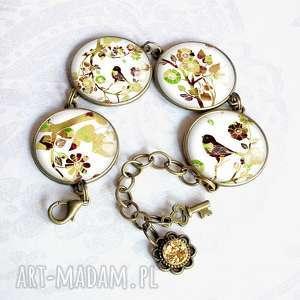 PTAKI :: piękna ręcznie robiona bransoletka z grafikami w szkle, duża, ptaszki