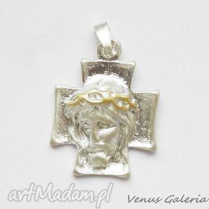 hand made wisiorki wisiorek srebrny - cross ii white