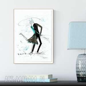 grafika 30x40 cm wykonana ręcznie, plakat, abstrakcja, elegancki minimalizm, turkus