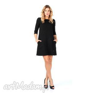 43 1 - sukienka z wytłaczanym wzorem, lalu, sukienka, kieszenie, trapez sukienki