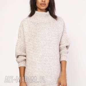 swetry sweterek - golf, swe116 beż, sweter, sweterek, ciepły, oversize