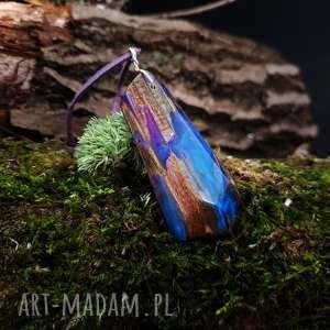 Wisior drewno i żywica Anobium Punctatum , boho, natura, organiczny, drewniany, las,