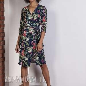 Kopertowa sukienka w kwiatki, SUK152 kwiaty, sukienka, kopertowa, zwiewna