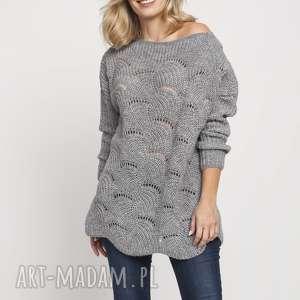 swetry oryginalny sweter, swe181 szary mkm, szary, wzór, jesień