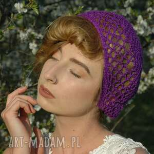 czepek ażurowy fioletowy, czapka, czapeczka, beret, czepek, ażurowy, ażur