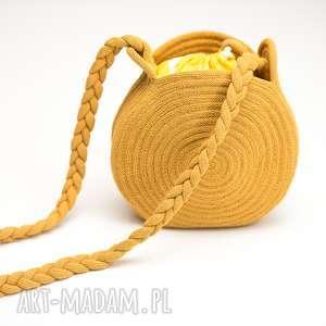 na ramię okrągła torebka must-have, torebka, lato, bawełna, okrągła, sznurek