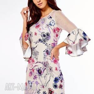 sukienka szerokimi rękawami dora kwiaty 021, elegancka sukienka