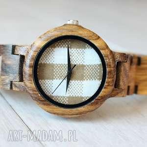Damski drewniany zegarek seria FULL WOOD Kratka, drewniany, damski, kratka, lekki