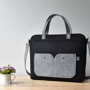 Elegancka czarna filcowa torebka na laptopa, laptop, filc, czarna, elegancka, duża