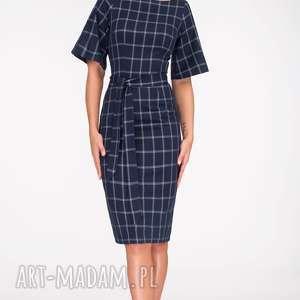 Sukienka MAJA Midi Gemma, wiązanka, pasek, krata, rękawy, dopasowana, midi