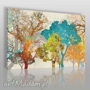 obrazy obraz na płótnie - drzewa kolory 120x80 cm 18101, drzewa, kolorowy