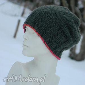 ZIELONA Z LAMÓWKĄ * 100% WEŁNA, wool, czapka, ciepła, zimowa, krasnal, wełna