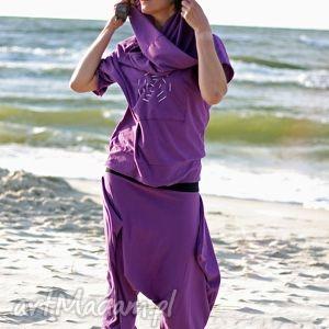 spodnie violet -komplet, spodnie, capri, alladyny, bluza, komin, spodium