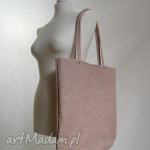 handmade duża skórzana torebka - różowy struś
